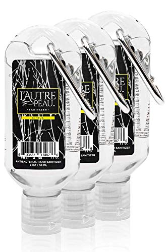 Travel Hand Sanitizer Gel with Aloe Vera & Vitamin E Made by L'Autre PEAU - Citrus Scented Alcohol Based Liquid Instant Hand Cleaner Pocket Sanitizer with Carabiner Clip (2oz 3 Pack)