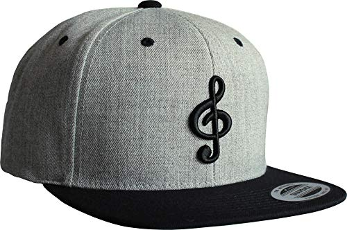 Cap: Notenschlüssel - Flexfit Snapback - Basecap - Urban Streetwear - Männer Mann Frau-en - Baseball-cap - Hip-Hop Rap - Mütze - Kappe - Musik Music - Partner-Cap - DJ - (Grau)
