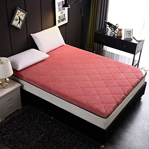 Tatami Mat for Sleeping, Japanese Futon Mattress Thick Folding Tatami Mattress Quilted Soft Single Double For Student Dorm Mattress Pink 90x200cm (35x79in)