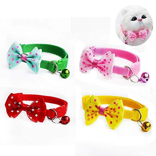 ICYANG 4Pcs Hunde Katze Krawatten Halsbänder mit Glocke Schleife Kätzchen Welpen Verstellbare Halsketten Bowknot Haustier Zubehör,1.0cm Breite