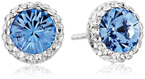 Sterling Silver Swarovski Crystal Halo Blue Stud Earrings