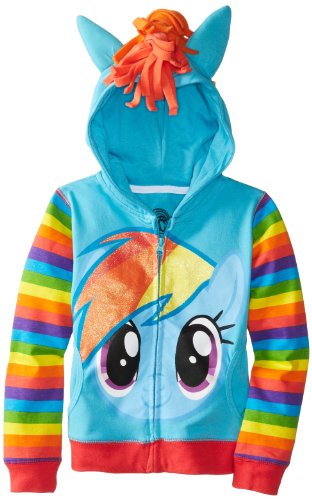 My Little Pony Big Girls Zip-up Hoodie, Rainbow Dash, X-Large (16)