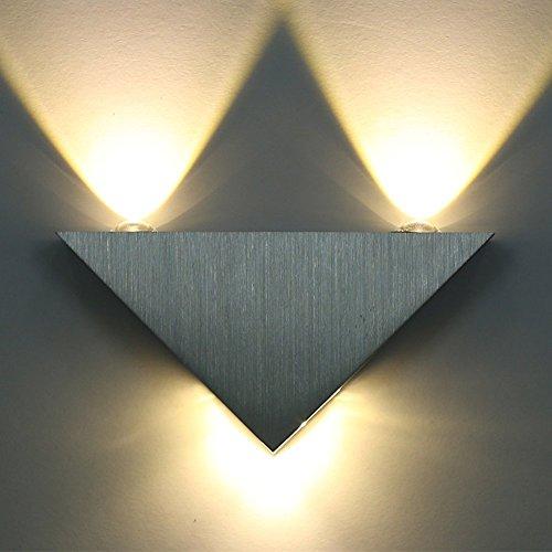Amzdeal Lampada da parete in alluminio 9w 3LED a risparmio energetico per corridoio, Soggiorno,bar
