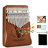 Kalimba Thumb Piano - GEMGO Portable Mbira Finger Piano 17 Keys with Mahogany Wood, African Musical Instruments, Tune Hammer and Study Instruction, Gift for Kids Adult Beginners