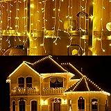 LED Eiszapfen Vorhang Lichter, LONJY 216 LEDs 16.4FT 8 Modi Twinkle Weihnachtsfee Wasserdichte...