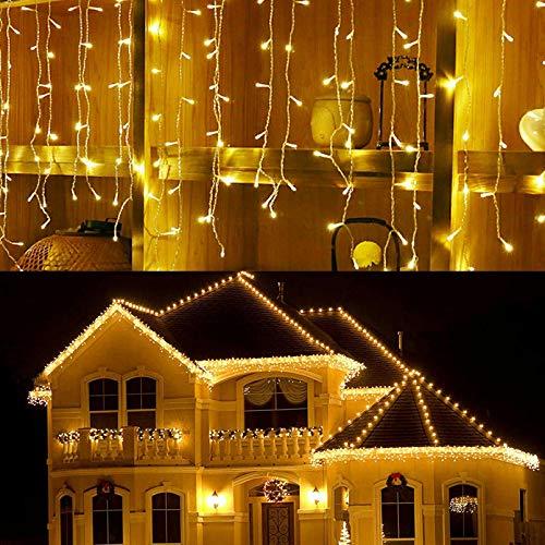 Luces de cortina de luz LED, LONJY 96 LED 4M Cascada de hielo / carámbano Luces de hadas 8 modos Luces de Navidad Luz de cadena LED para dormitorio Patio Patio Jardín Boda (blanco cálido, 4M 96LED)