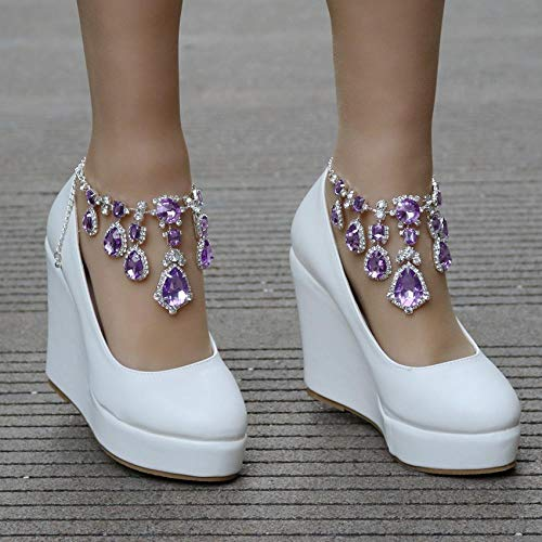 N / A Zapatos de boda con cadena de diamantes de imitación, zapatos de cuña con plataforma de punta redonda, púrpura_39