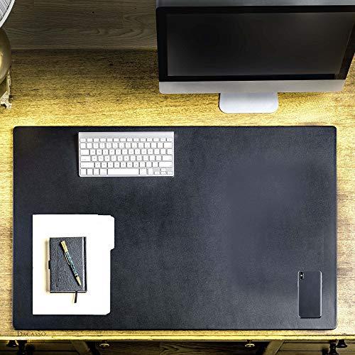 "Black Leather Desk Mat/Desk Pad/Gaming Pad/Mouse Pad/Desk Protector, 38"" x 24"""