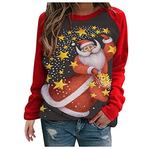 HolAngela Weihnachten Sweatshirt Damen Teenager Mädchen Weihnachtspulli Rote Nase Hirsche Aufdruck Weihnachtspullover Sweatshirt Xmas Pulli Top
