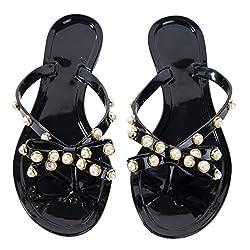 N.N.G Damen-Flip-Flops mit Perlen und klaren Schleifen, für den Strand, flach, Kristall, Gelee, Zehentrenner, Schwarz (schwarz), 38 EU