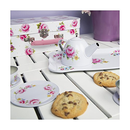 Hoolaroo Tea Party Picnic Box Set - Tin Vintage Floral Mini Tea Set in Suitcase - Toy