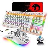 FELICONゲーミングキーボードセット 青軸 K2メカニカル 有線 87キー 全キー 防衝突 ハニカムデザイン 軽量6400DPI プログラム可能 マウスパッド付き RGBバックライト mini キーボードマウスセット ドライバー コンパクト (White)