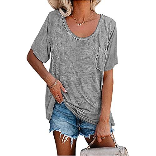 Blusa Mujer Básico Estampado Bolsillos De Cuello Redondo Decoración Mujer Camisa Generoso Temperamento Casual Moda Transpirable Elasticidad Verano Único Mujer Tops E-Grey XXL