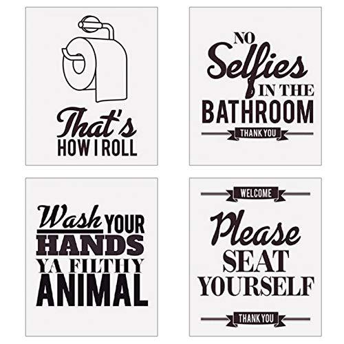 Set di 4 tele per WC da bagno, 20 x 25 cm, decorazione da bagno, per lavarsi le mani, citazioni per il bagno, foto decorativa (senza cornice)