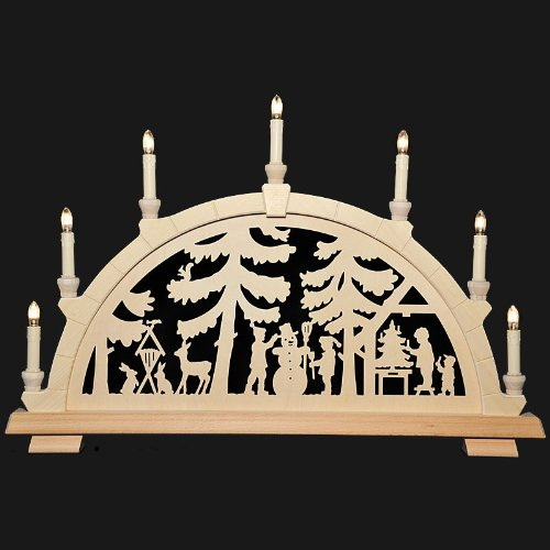 Holzkunst Niederle - Schwibbogen mit geschnitzten Bogen - Motiv Bescherung Erzgebirge