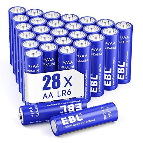 EBL 28 pcs Alcaline AA Batterie - 1.5V Tripla a Lunga-Durata Pile Stilo AA