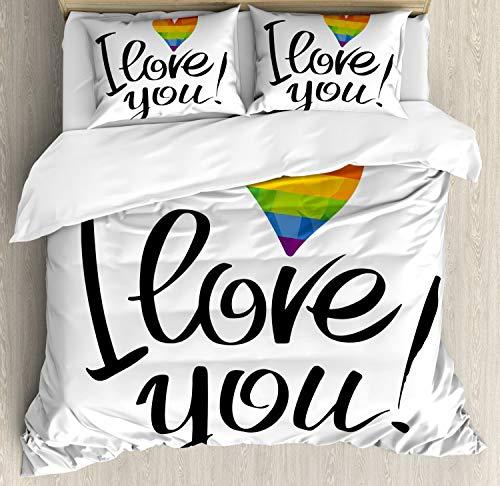 ABAKUHAUS Orgullo Funda Nórdica, Corazón Gay Parejas Amor, 2 Fundas para Almohada Set Decorativo de 3 Piezas, 264 X 220 cm, Multicolor