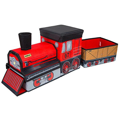 Orbrium Toys Train Shaped Collapsible Toys Storage Bin Organizer for Thomas Wooden Train, Thomas The Tank Engine and Trackmaster, etc.