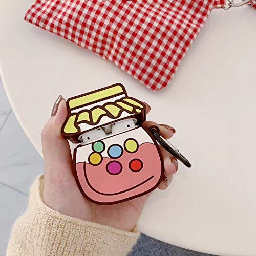 SevenPanda Pilz Hülle für Apple Airpods, Niedliche Silikon 3D Lustige Airpod Hülle, Kawaii Skin Kits mit Karabiner, Einzigartige Hülle für Mädchen Kinder Frauen Air Pods - Bonbonglas