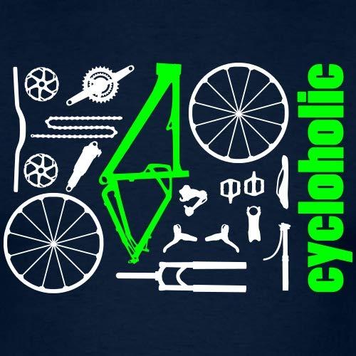 Spreadshirt MTB Teile Cycloholic Mountainbike Komponenten Männer T-Shirt, M, Navy - 2
