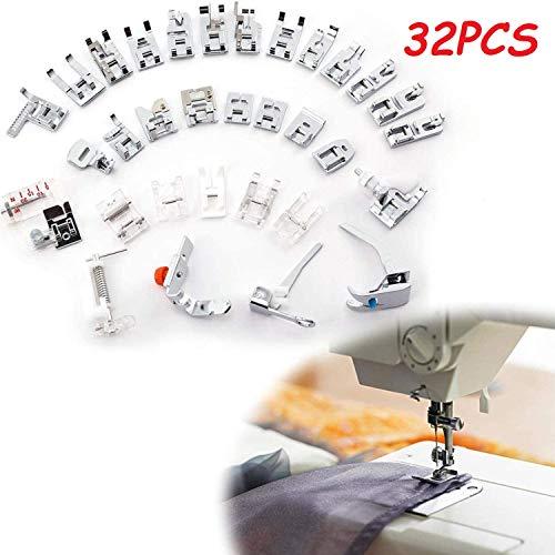 E-Senior Juego de prensatelas, 32 Piezas Kit Prensatelas Universal Multifuncional Pie de Maquina de Coser para Singer, Brother, Janome, JUKI, Toyota