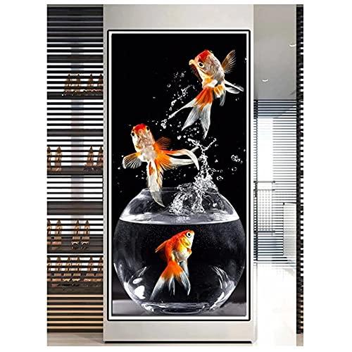 Kit Pintura de Diamante 5D Tamaño Grande Pecera de peces de colores DIY Completo Diamond Painting Rhinestone Bordado Punto de Cruz Adulto Niño para el Hogar Decor de Pared Regalo 80x220cm Square Drill