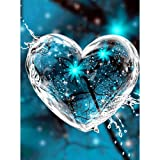 Soreatr Pintura 5D Diamante para Adultos y Niños Un corazon verdadero Taladro completo Bordado Redondo Kits de Punto de cruz Artesanía Decoración de Pared para el Hogar Gift-20X30CM