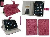 emartbuy Odys Rapid 7 LTE Weiß Edition 7 Zoll Tablet Universal FauxWildlederLeopard Hot Rosa Multi Angle Exekutiv Folio Mappen Kasten Abdeckung mit Kartensteckplätze + Hot Rosa 2 in 1 Eingabestift