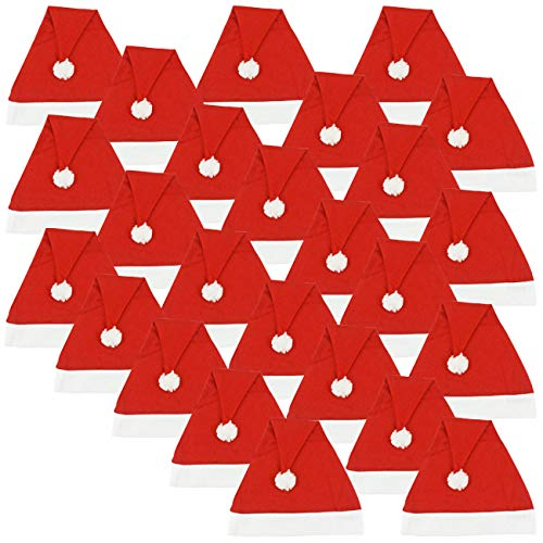 Ciffre 25 Stück im Set Weihnachtsmütze Nikolausmütze Winter Mütze Mützen Nikolaus Santa Rot