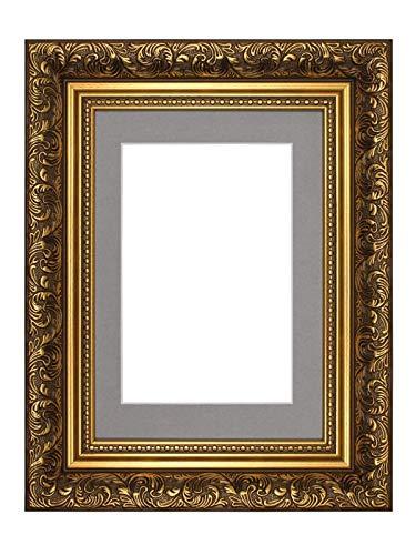 Memory Box Französischer Barock Stil mit Passepartout mit Verzierungen im Antik stylephoto Rahmen/Bilderrahmen/Poster–m-fr-Baroque-Parent, Gold Frame with Grey Mount, 10
