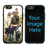 Custom iPhone 6 / 6s Cases by Guard Dog - Personalized - Make Your Own Protective Hybrid Phone Case. Includes Guard Glass Screen Protector. (Black, Black)