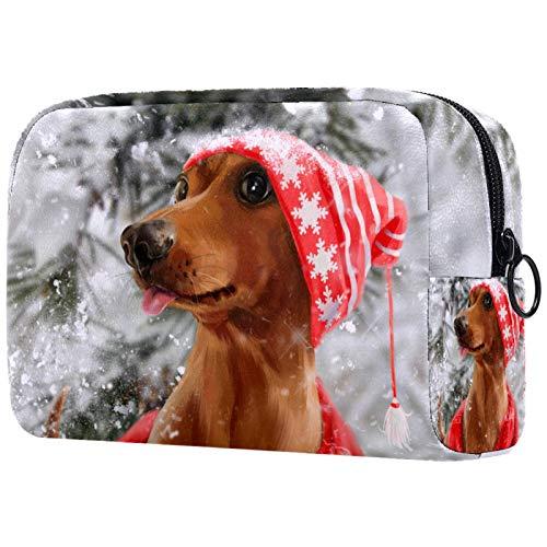 Bolsa de Maquillaje para niños Animales Perro Accesorio de Viaje Neceser Pequeño Bolsas de Aseo Suave al Tacto Cosmético Organizadores de Viaje 18.5x7.5x13cm