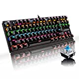 Enzeno Mechanical Gaming Keyboard, Blue Switch Mini 87 Keys RGB LED Rainbow Backlit