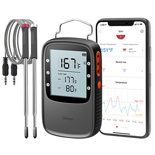 Govee Bluetooth Meat Thermometer, Smart Grill Thermometer, 196ft Remote Monitor, Large Backlite Screen, Alarm Notification for Smoker BBQ Oven Kitchen Candy