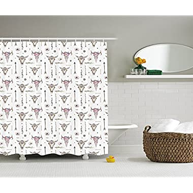 Ambesonne Arrow Decor Collection, Boho Pattern Artwork with Arrows Feathers Cow Skulls Image, Polyester Fabric Bathroom Shower Curtain Set with Hooks, White Ivory Pink