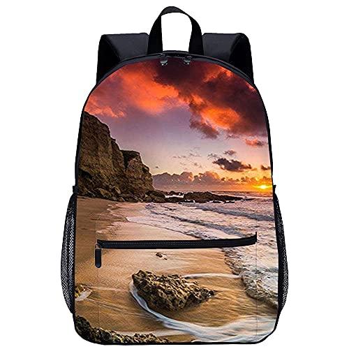 ZFWEI Campus de mochila Hermosa playa Mochila para portátil Mochila de día de 17 pulgadas Mochila de viaje con panel frontal preformado Impermeable para trabajo / negocios / hombres / mujeres