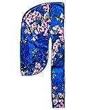 Velvet Du-RAG -Premium Quality- Wave Cap-Durag 360 Waves Wide Straps (Floral Blue)