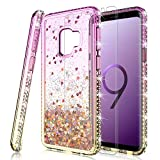 HATOSHI Galaxy S9 Plus Glitter Case with Screen Protector for Girls Women, Floating Quicksand Liquid Sparkle Bling Diamond Clear Cute Protective Phone Case for Samsung Galaxy S9+ Not Fit S9 Pink-Gold