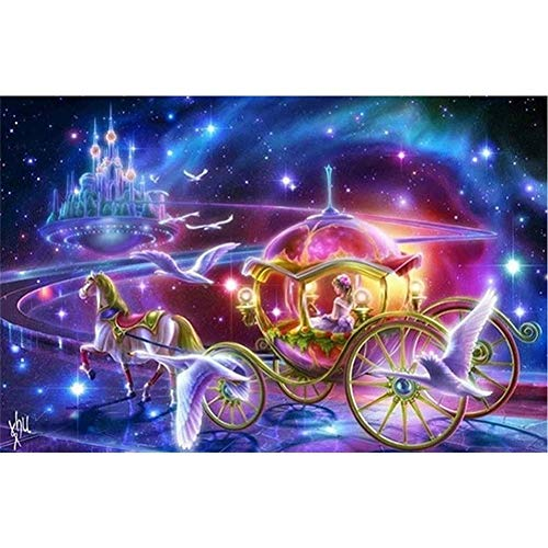 Diamond Painting Kits DIY 5D Diamant Malerei Painting Full Drill Art Adult Child Crystal Rhinestone Cross Stitch Canvas Craft for Home Bedroom Wall Decor Gift Feenschloss PrinzessinRound Drill,50x70cm