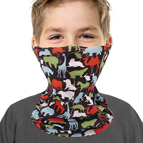 Neck Gaiter Face Mask for Kids Boys Girls - Breathable Windproof UV Protection Animal
