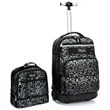 Tilami Rolling Backpack 19 inch with Lunch Bag Wheeled Laptop Backpack, Grey