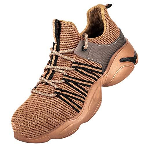 [AKIMOTO] 安全靴 作業靴 スニーカー メンズ レディース スポーツ ハイカット 超軽い 鋼先芯 通気 ミッドソール ワークシューズ イェロー 28cm