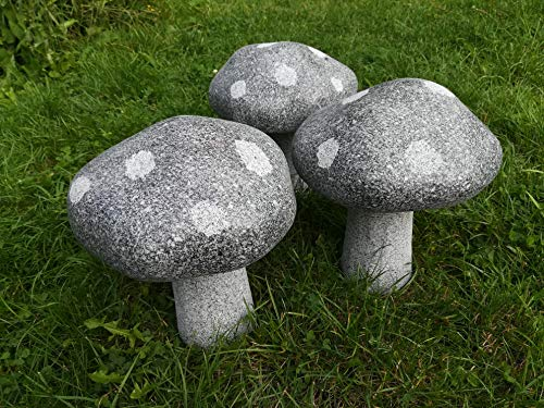 Naturstein Pilz aus dunklen Granit Gr.M Handarbeit ! Garten Haus Deko Teich Figur Stein