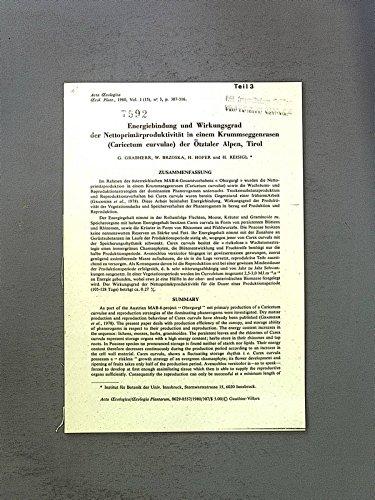 Energiebindung und Wirkungsgrad der Nettoprimär-produktivität in einem Krummseggenrasen (Caricetum curvulae) der Oetztaler Alpen, Tirol. Acta Ecologica, Plant, vol. 1 (15), Nr.3, p. 307-316.
