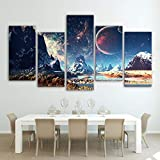 Baobaoshop Canvas HD Print Poster Decoración del hogar 5 Piezas Mountain and Space Painting Wall Art Set Planet Snow Lake Galaxy Picture-Sin Marco