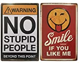Chapas Decorativas Vintage | No Stupid & Smile | Set de 2 Placas metálicas 'graciosas' para pared | Estilo Retro | Tamaño 20x30.