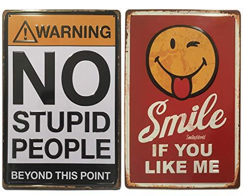 Chapas Decorativas Vintage | No Stupid & Smile | Set de 2 Placas metálicas 'graciosas' para pared | Estilo Retro | Tamaño 20x30.