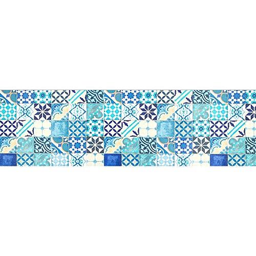 IlGruppone Tappeto passatoia Made in Italy Antiscivolo Lavabile Fantasia Blu maiolica - Maiolica Blu - 50x100 cm