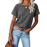 DREAMING-Chaqueta Suelta Superior para Mujer de Primavera y Verano Sudadera con Estampado Cruzado de Color a Juego Camiseta Casual de Manga Corta Suelta XL