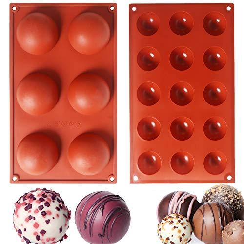 Halbkugel-Silikonform, 2 Packungen Backform mit 6 Löchern und 15 Löchern für Schokolade, Kuchen, Gelee, Pudding, handgefertigte Seife, runde Form